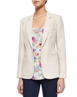 Mehira Long-Sleeve Linen Blazer