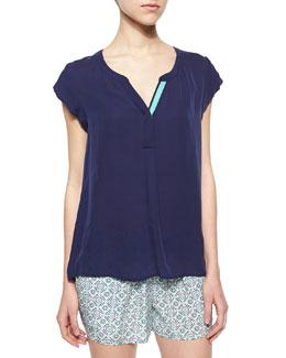 Mayenne Cap-Sleeve Silk Blouse