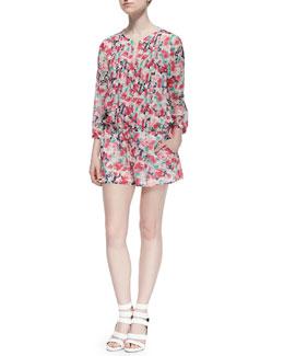 Amara C Floral-Print Silk Romper
