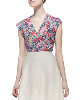 Macy D Silk Floral-Print Blouse