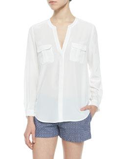 Iloani Long-Sleeve Silk Blouse