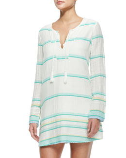 Dacy Long-Sleeve Coverup Tunic Dress