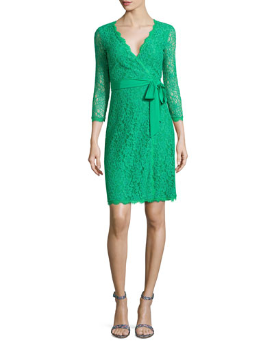 Juliana 3/4-Sleeve Lace Wrap Dress, Green