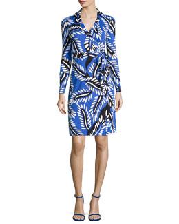 New Jeanne Long-Sleeve Jersey Wrap Dress