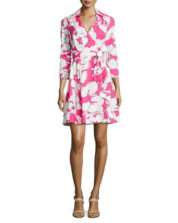 Jadrian Floral Wrap Dress with Pleated Skirt