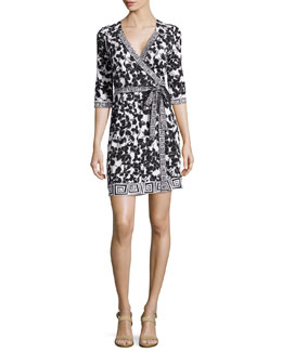 New Julian Mixed-Print Silk Wrap Dress