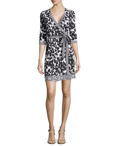 New Julian Mixed-Print Silk Wrap Dress