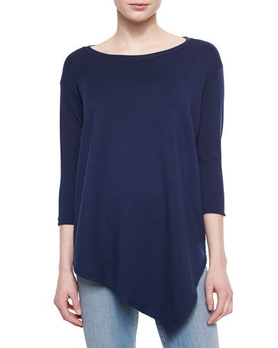 Asymmetric Boat-Neck Top, Navy