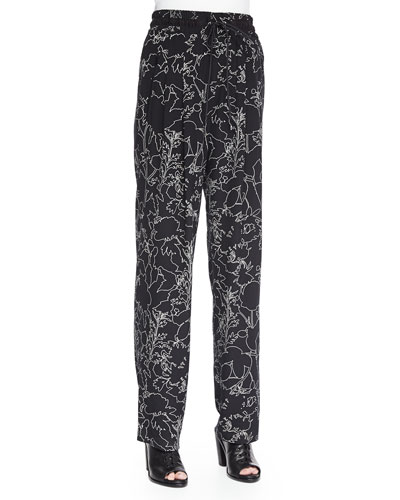 Harvey Floral-Print Silk Pants