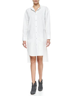 Axis Woven High-Low Cotton Shirtdress, Bright White