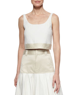 Elsa Two-Tone Crop Top, White