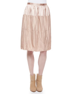 Maria Crinkled Tiered Satin Skirt