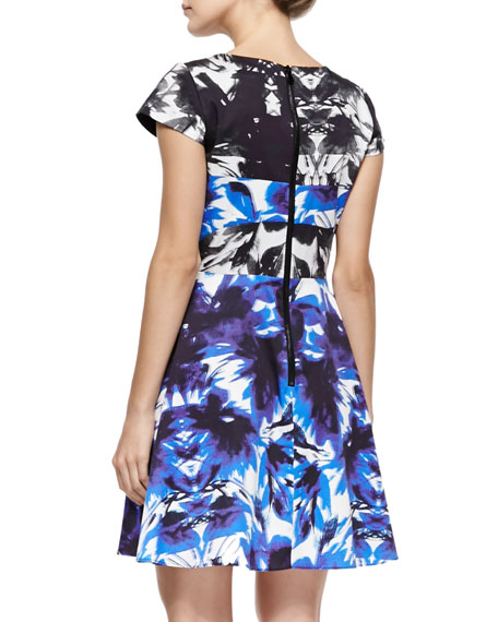 Floral Mirage Cap-Sleeve Flare Dress