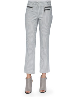 Railroad Stripe Cropped Pants, Navy/White