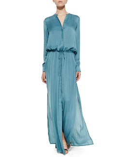 Long-Sleeve Drawstring Maxi Dress