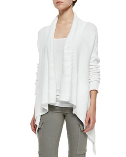 Ribbed Knit Draped Cardigan