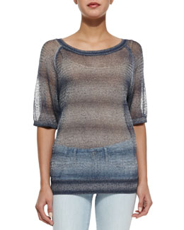 Metallic See-Through Knit Sweater