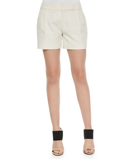Ottoman Single-Pleat Shorts, Linen