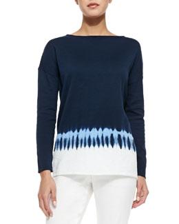 Tie-Dye Boat-Neck Sweater