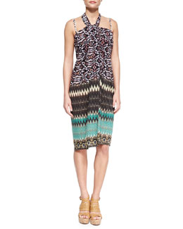 Mixed-Print Convertible Sarong Coverup