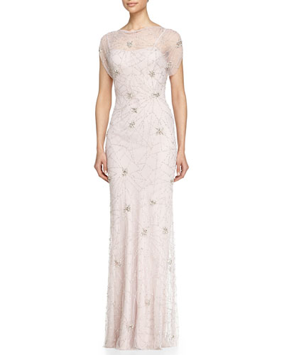 Firework Beaded Cap-Sleeve Gown