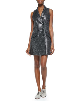 Beckette Shimmer Tweed Vest Dress, Lead Ink