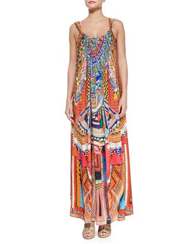 Printed Tassel-Trim Racerback Dress