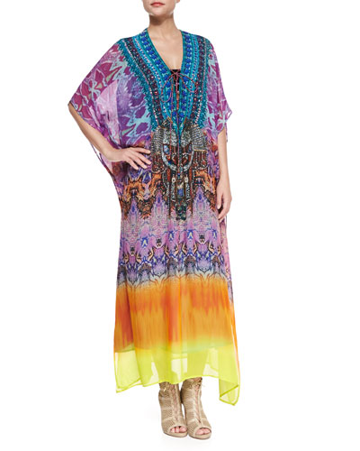 Beaded Lace-Up Caftan Coverup