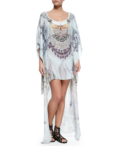 Scoop-Neck Printed and Beaded Kaftan/Coverup
