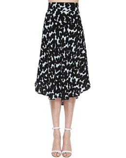 Corso Silk Floral-Print Skirt