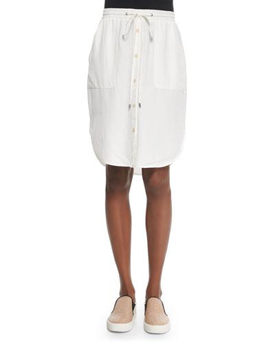 Button-Front Drawstring-Waist Skirt