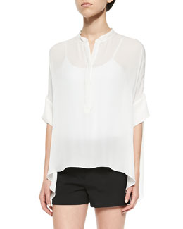 Dropped-Shoulder Silk Henley Top, White