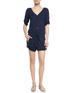 Knit Cotton-Blend V-Neck Jumpsuit