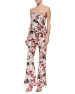 Cross-Front Floral-Print Jumpsuit