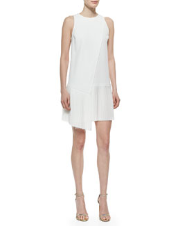 Sleeveless Dress with Asymmetric Pleated Hem