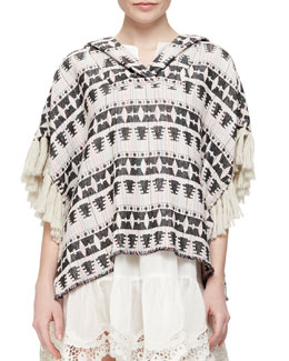 Tribal-Pattern Tweed Pullover