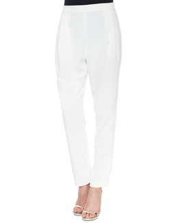Pleated Cropped Track-Pant Trousers