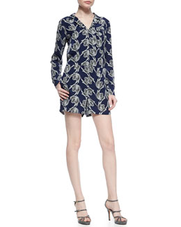 Printed Long-Sleeve Silk Romper