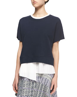 2-in-1 Sweater with Asymmetric Pleated Underpinning