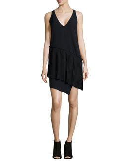 Sleeveless Pleated Asymmetric Dress