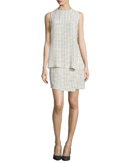 Carey Dotted Silk Layered Dress