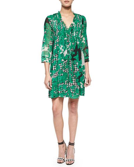 Printed Pleated Silk Dress