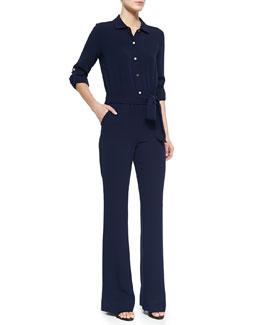 Lori Wide-Leg Crepe Jumpsuit