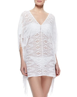 Taylor Fringe-Trim Lace Coverup