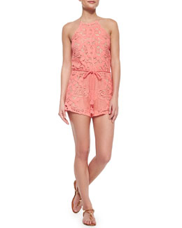 Harriet Scalloped Lace Short Jumpsuit, Punch