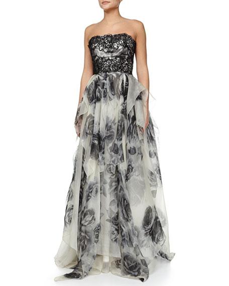 ce6e7302 Marchesa Notte Strapless Lace Bodice Organza Skirt