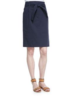Delinalt Tie-Waist Poplin Skirt