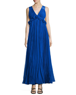 Empire-Waist Pleated Chiffon Gown
