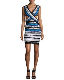 Neina Ripple-Striped Crisscross Dress, Pacific Blue Combo