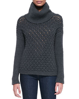 Chunky-Knit Dropped-Shoulder Turtleneck
